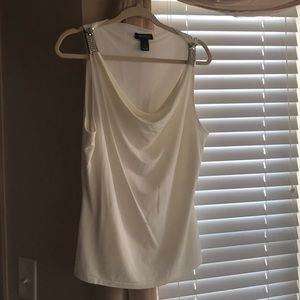 EUC cream top size large sequined trim